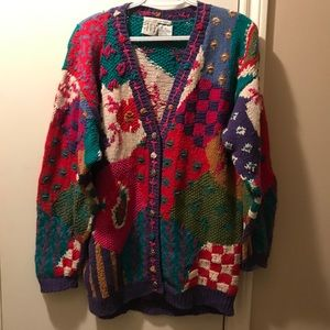 Fabulous colorful hand knit sweater